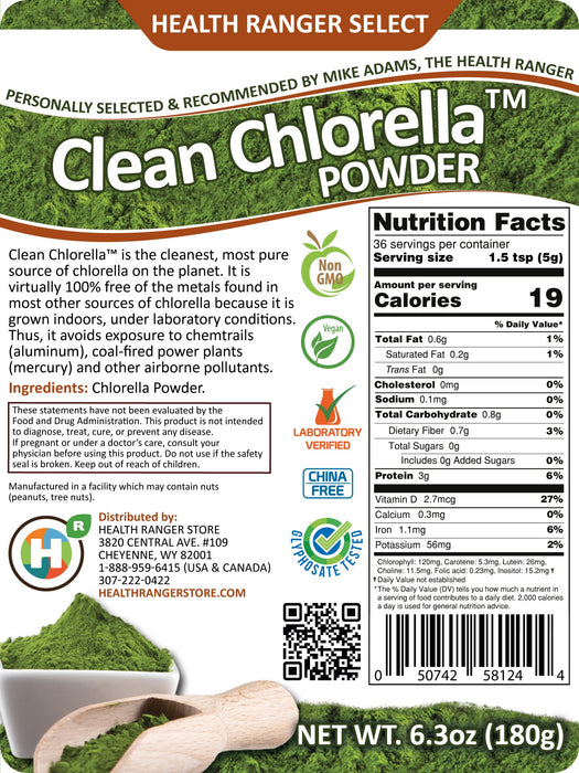 Clean Chlorella Powder (180g)
