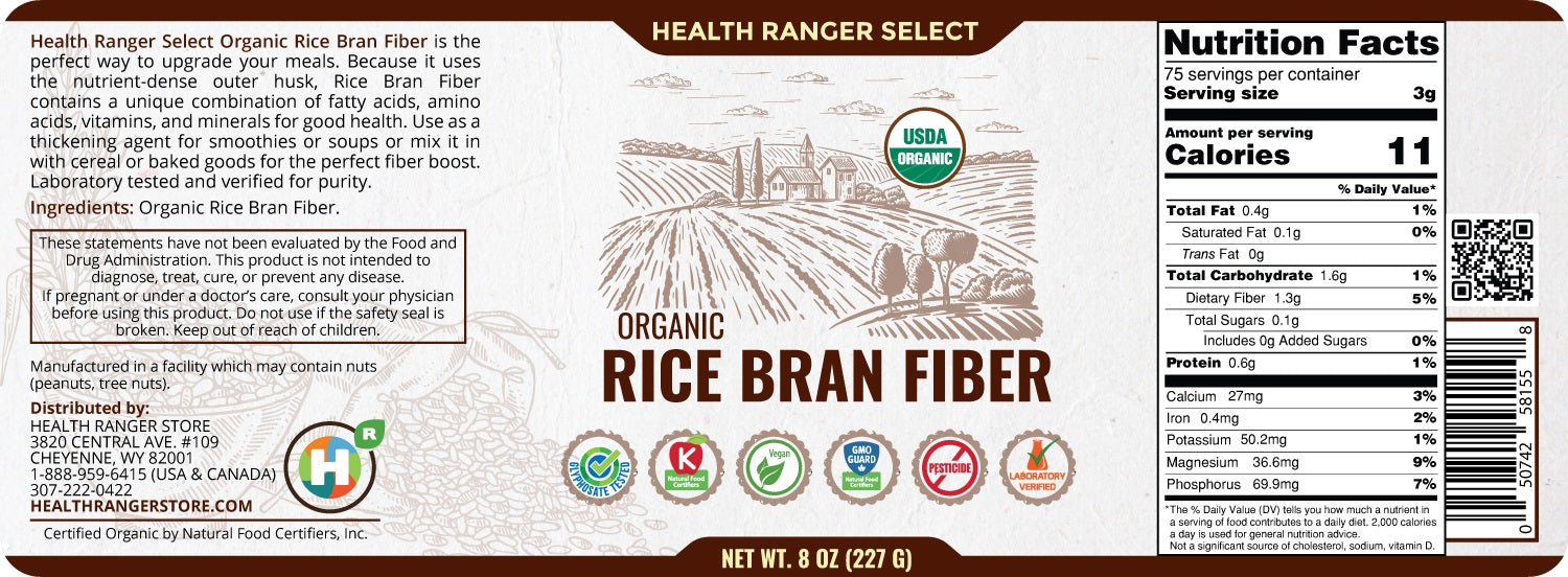 Organic Rice Bran Fiber 8oz (227g) (3-Pack)