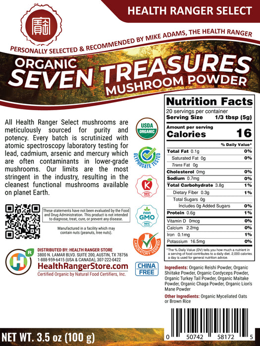 Organic Seven Treasures Mushroom Powder 3.5oz (100g)