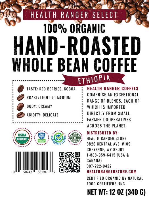 100% Organic Hand-Roasted Whole Bean Coffee (Ethiopia) 12oz, 340g