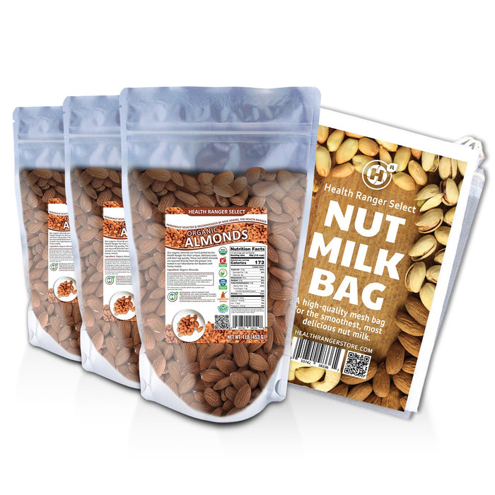 Organic, Raw, Unpasteurized, NON-irradiated Almonds 1lb (453g) (3-Pack) + Nut-Milk / Sprouting Bag (9.5 in. x 12 in.)