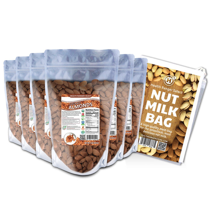 Organic, Raw, Unpasteurized, NON-irradiated Almonds 1lb (453g) (6-Pack) + Nut-Milk / Sprouting Bag (9.5 in. x 12 in.)