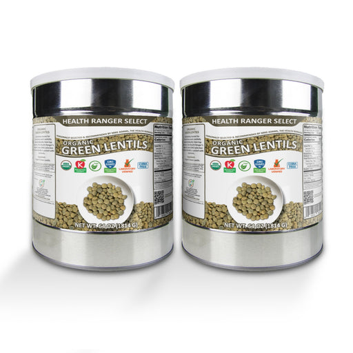Organic Green Lentils (64oz, #10 Can) (2-Pack)