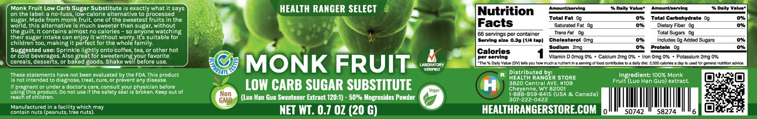 Monk Fruit Extract Powder - Low Carb Sugar Substitute 0.7oz (20g) (6-Pack)