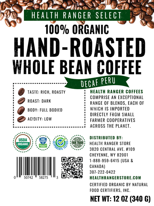 100% Organic Hand-Roasted Whole Bean Coffee (Decaf Peru) 12oz, 340g