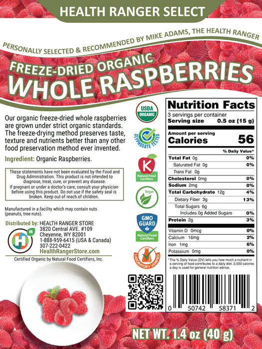 Freeze-Dried Organic Whole Raspberries 1.4oz (40g)