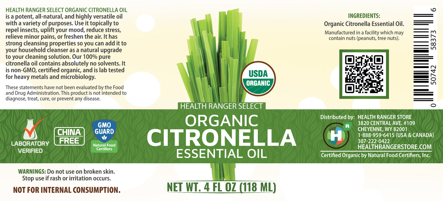 Organic Citronella Essential Oil 4 fl oz (118 ml)
