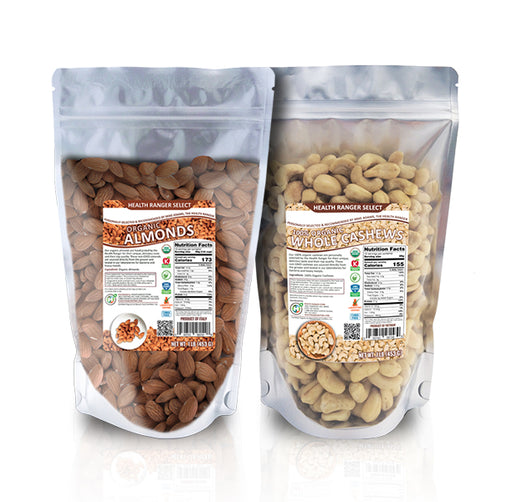 Organic Raw Almonds + 100% Organic Cashews Combo Pack