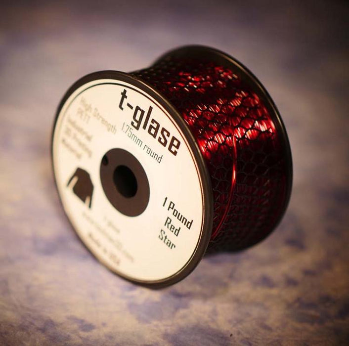 1.75mm t-glase filament for 3D printing- Red (1LB)