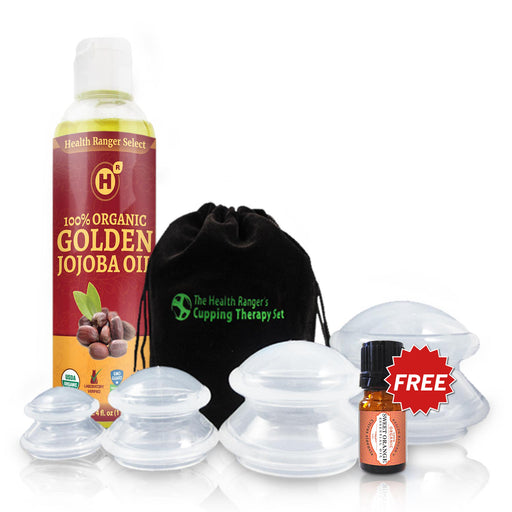 Organic Jojoba Oil and Cupping Therapy Combo Set + FREE Organic Sweet Orange Essential Oil