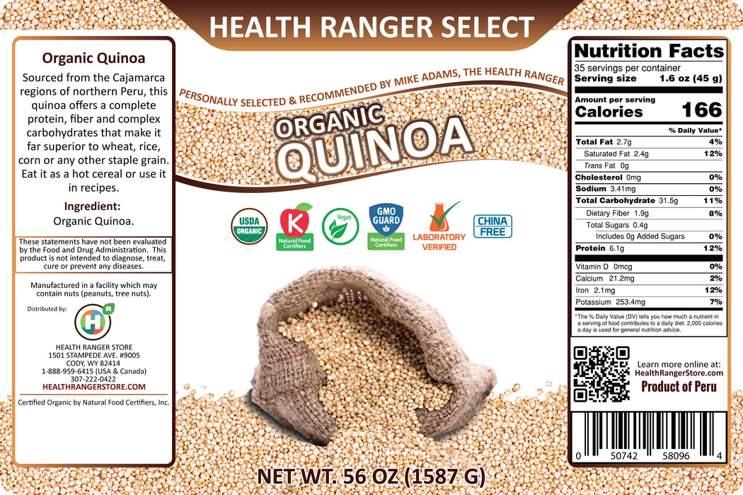 Health Ranger Select Organic Quinoa 56oz (#10 Can, 1587g) (2-Pack)