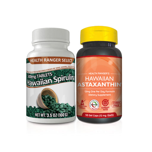 Hawaiian Spirulina 500mg 3.5oz + Hawaiian Astaxanthin 12mg 50 gelcaps Combo Pack