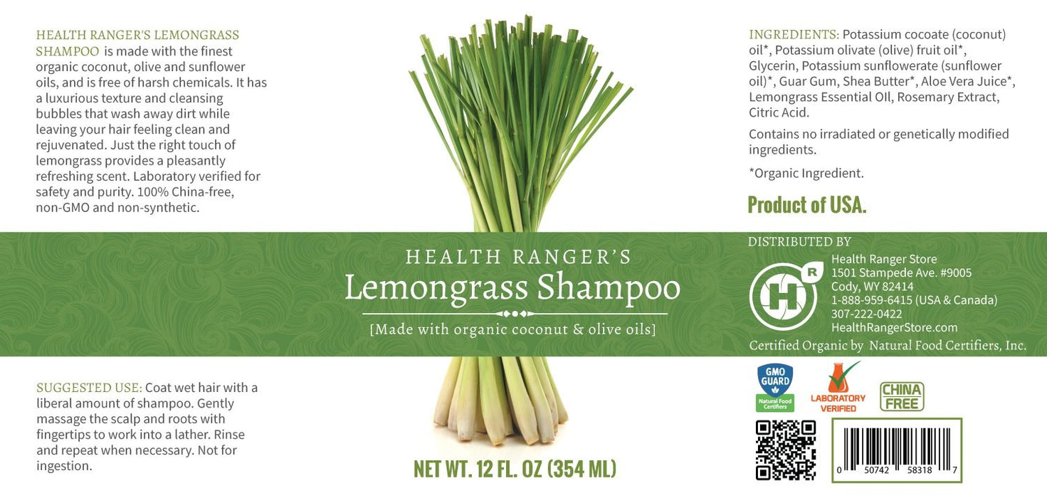 Health Ranger's Lemongrass Shampoo 12oz (3-Pack)