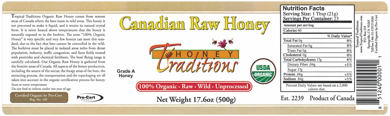 Tropical Traditions Canadian Raw Honey 17.6 oz