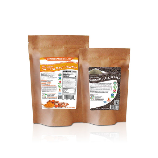 100% Organic Ground Black Pepper + 100% Organic Turmeric Root Powder Combo Pack