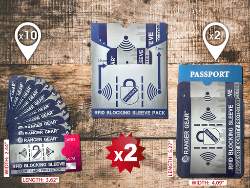 BOGO 50% OFF PROMO - 2X RFID Blocking Sleeve Pack (10 Credit Card and 2 Passport Protectors)