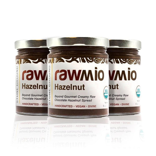 Rawmio Hazelnut - Beyond Gourmet Creamy Raw Chocolate Hazelnut Spread  6oz (3-Pack)