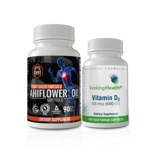 Ultimate Brain Booster Combo Pack: Vitamin D3 5000 IU + Ahiflower Oil- Plant-Based Omega 3-6-9