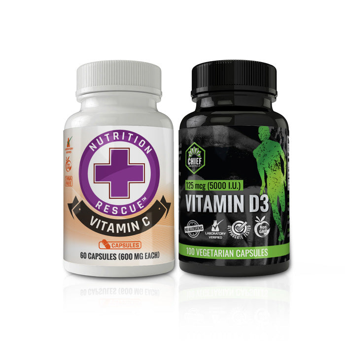 Chief Originals Vitamin D3 125mcg (5000 IU) 100 Veg Caps + Nutrition Rescue Non-GMO Vitamin C 60 caps (600mg each) Combo Pack