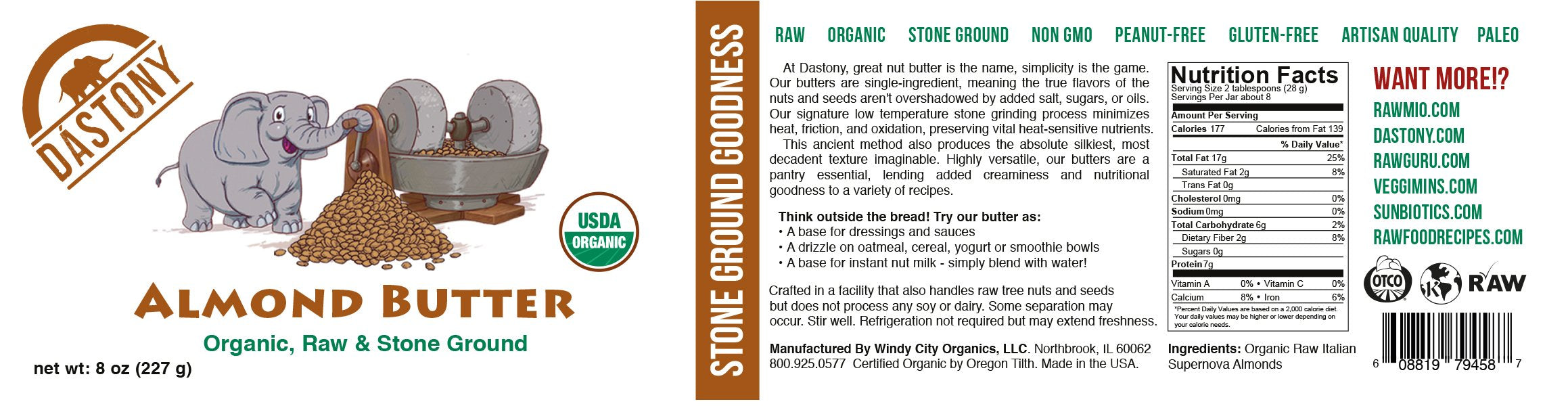 Stone Ground 100% Organic Raw Almond Butter - 8 oz