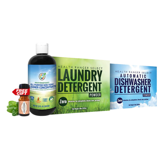 Ultimate Non-Toxic Eco-friendly Cleaning Pack C: Automatic Dishwasher Detergent Powder + Laundry Detergent Powder + All-Purpose Cleaner Concentrate + FREE 100% Organic Oregano Essential Oil (5ml)
