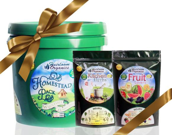 Gift Pack H - Purchase a Homestead Pack, Fruit Lovers and Family Kitchen Herb Pack for $299
