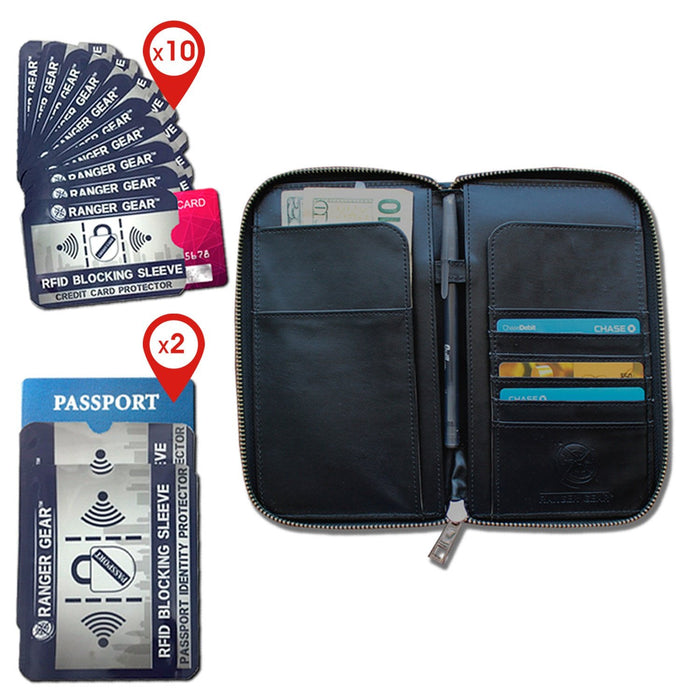 RFID Blocking Double Protection Combo Pack ( 1 Wallet + 10 Credit Cards + 2 Passport Protectors)