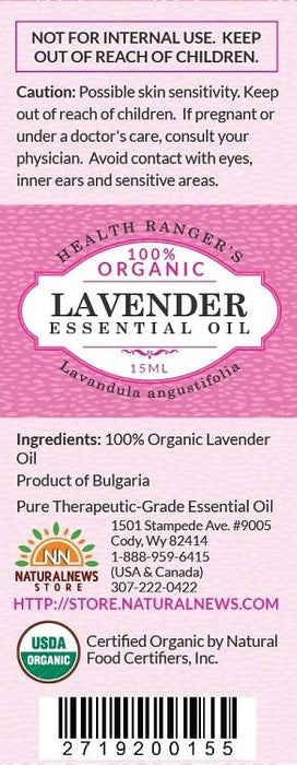 100% Organic Lavender Essential Oil 0.5oz (15ml)