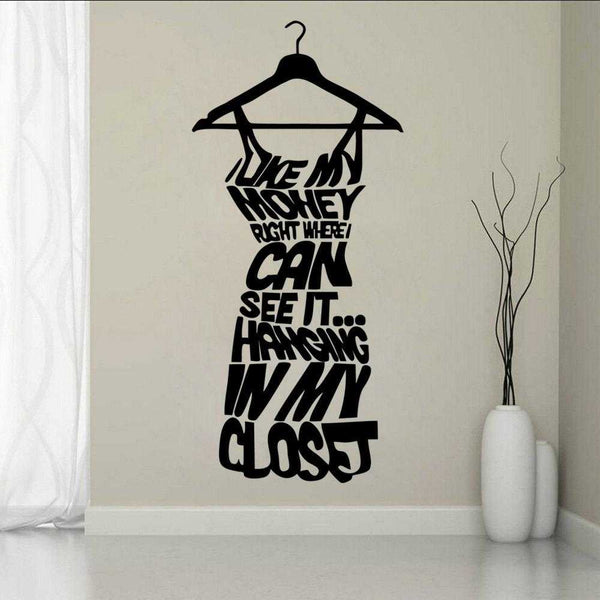 Woman Dress Hanging Wall Decal