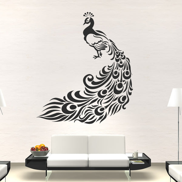 Black Peacock Wall Decal