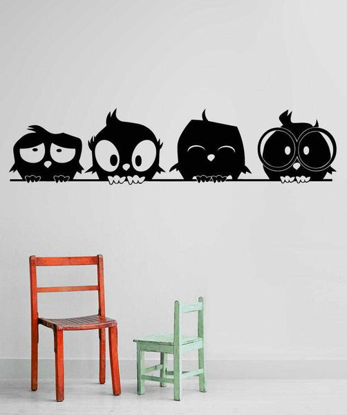 4 Cute Owls Wall Decal
