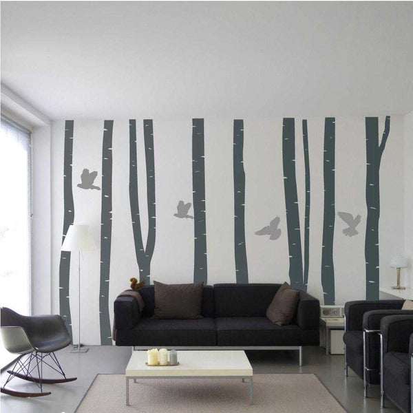 Grey Tree With Grey Birds Wall Decal