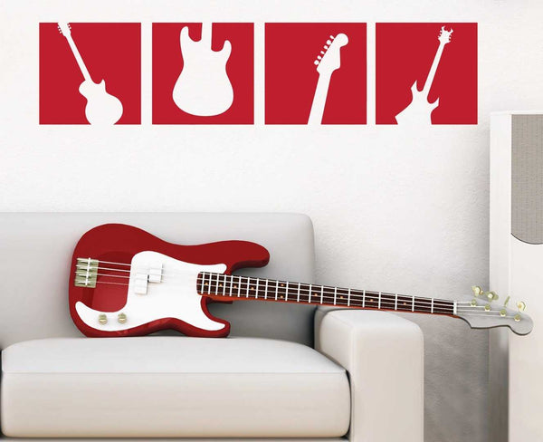 Guitar 4 Squares Wall Decal