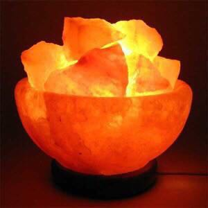 Himalayan Salt Lamp Fire Bowl Wooden Base