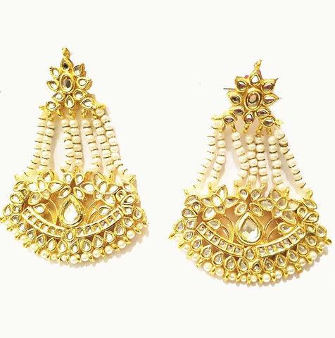 Pearl & Kundan Earrings with Mina work