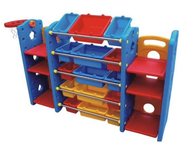 Children's Plastic Shelves and Storage Bins with Basketball Net
