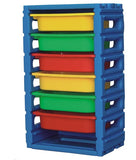 Single Column 6-Tier Kids Storage Shelf with Plastic Bins - emarkiz-com.myshopify.com