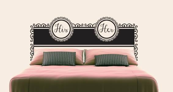 His & Hers Headboard Wall Decal
