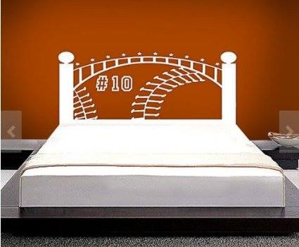 Brown Baseball Headboard Wall Decal