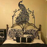 Peacock Black Headboard Wall Decal