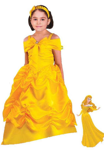 Beautiful Princess Yellow Girl Kids Costume Dress