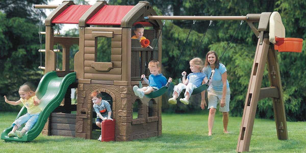 Outdoor Swings Slide Treehouse Set with Basketball Toss