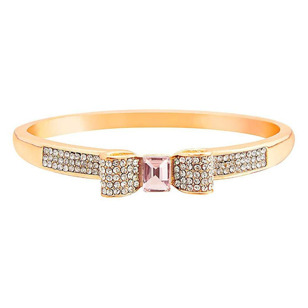 Rose Gold Plated Bangle with Baby Pink Stone - emarkiz-com.myshopify.com