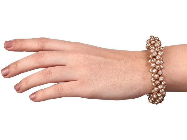 Rose Gold Plated Pearl Clustered Bracelet 9 Inches - emarkiz-com.myshopify.com