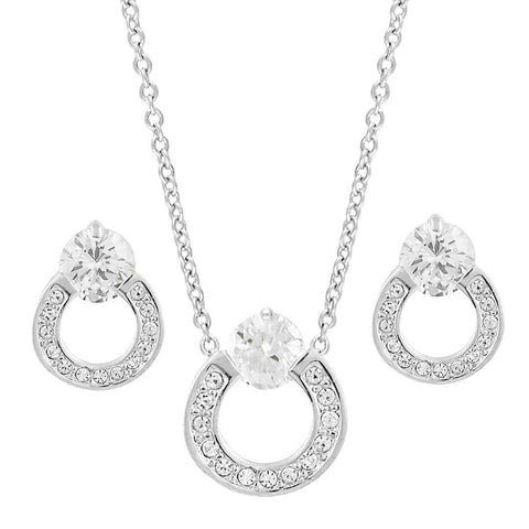 Ring Designed Cubic Zirconia Pendant Earrings Set