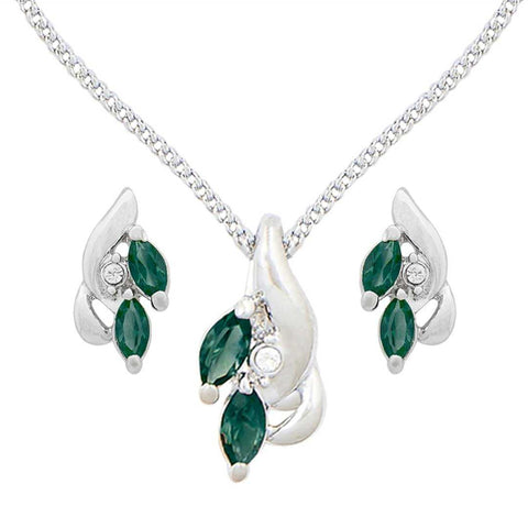 Green Stone Leaf Design Pendant Set with Earrings