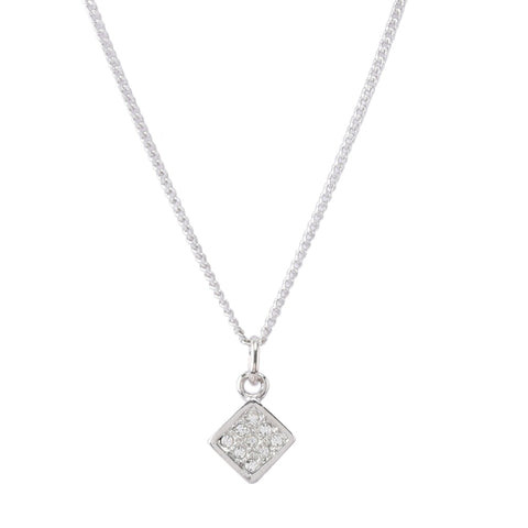 American Diamonds Square Shape Pendant Set with Earrings
