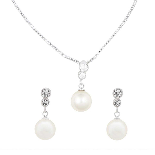 Pearl Drops and Stones Pendant Set with Chain and Earrings