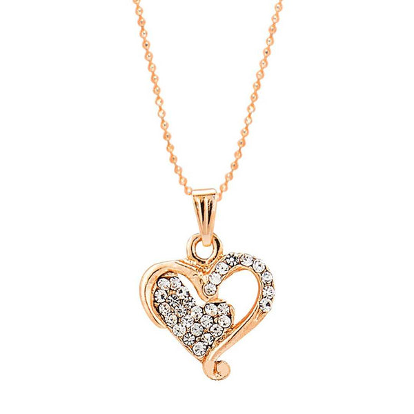 Curved Heart Chain Pendant Set with Stones - emarkiz-com.myshopify.com