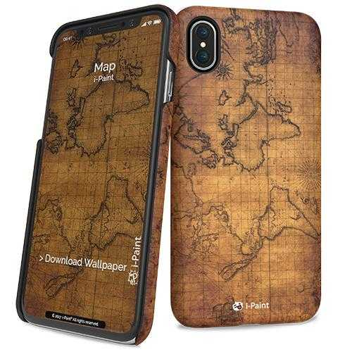 i-Paint iPhone X Map Hard Case